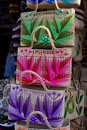 Brightly colored handmade purses Stock Photo