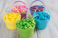 Brightly colored jelly beans for easter in baskets Stock Image