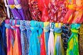 Brightly Colored Scarves on Rack