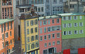 Brightly Colored street buildings Royalty Free Stock Photo