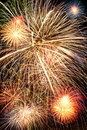 Brightly colorful fireworks  in the night sky Royalty Free Stock Photos