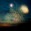 Brightly colorful fireworks  in the night sky Royalty Free Stock Image