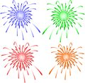 Brightly colorful vector fireworks vector on white illustration Royalty Free Stock Image