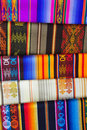 Brightly coloured patterned alpaca blankets Royalty Free Stock Images