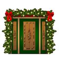 Brightly decorated entrance door isolated on white background. Idea festive interior. Attributes of New year and Royalty Free Stock Photo