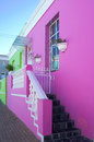 Brightly painted houses in the bo kaap neighborhood of cape town south africa Royalty Free Stock Image