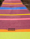 Brightly painted street a with a variety of coloured stripes neuchtael switzerland Royalty Free Stock Photography
