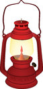 Brightly red ancient oil lamp Stock Images