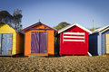 Brighton bathing boxes colorful huts in a row Stock Photo