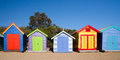 Brighton beach bathing boxes on a summer s day in melbourne victoria australia Royalty Free Stock Image