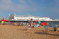 Brighton Beach and Pier in summer Stock Photos