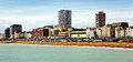 Brighton beach and skyline uk of the city of a popular tourist resort on the southern seacoast of great britain Stock Photography