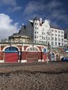 Brighton beachfront shops pebble beach seafront Royalty Free Stock Photos