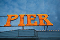 Brighton pier lights england illuminated sign taken in the evening Stock Photography