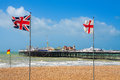 Brighton pier uk seafront and at east sussex england Royalty Free Stock Photos