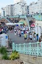 Brighton seafront promenade sussex england with people east Stock Images