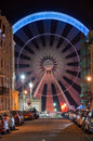 Brighton street scene with ferris wheel at night Royalty Free Stock Photography