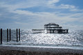 Brighton west pier damaged skeleton of s famous landmark the Royalty Free Stock Photography