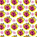 Briht butterfly and heart vector seamless pattern Royalty Free Stock Photo