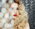 Brilliance glamor face of beauty woman in blurs pretty shiny blonde Royalty Free Stock Photo
