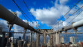 Brilliant Blue sky with white clouds City skyline and Brooklyn Bridge Royalty Free Stock Photo
