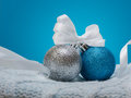 Brilliant Christmas Balls on the Blue Background Royalty Free Stock Photo
