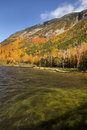 Brilliant fall foliage at Saco Lake in the White Mountains. Royalty Free Stock Photo