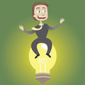 It is a brilliant idea the businessman sits on bulb Royalty Free Stock Photos
