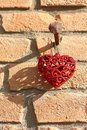 Brilliant red shape of heart as decoration for christmas hanging Royalty Free Stock Photo