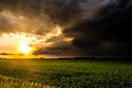 Brilliant Sunset Rays After a Storm Royalty Free Stock Photo