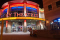 Brilliantly lit century theaters albuquerque usa september styled in keeping with downtown on corner of Royalty Free Stock Photo