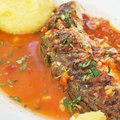 Brine turbot served at the restaurant Royalty Free Stock Images