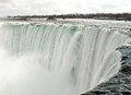 Brink of niagara falls water flowing over the ontario Stock Photography