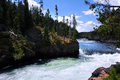 Brink of upper falls in yellowstone river gains momentum as it fast rapids culminates at the national park photo is Stock Photo