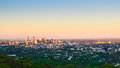 Brisbane city at sunset from mount coot tha Stock Photography