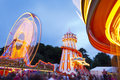 Bristol united kingdom august evening funfair rides grounds ashton court bristol balloon fiesta people lights big wheel carousel Stock Photography