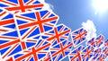 Britain first concept flying flag arrows towards the sun