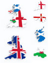 Britain flags on d map white isolated Stock Images