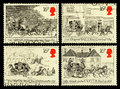 Britain mail coach postage stamps set of used printed in celebrating the bicentenary of the first run showing various coaches Royalty Free Stock Images
