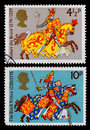 Britain medievil warrior postage stamp pair of used stampa printed in showing robert the bruce the king of the scots and edward Stock Image