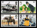 Britain police postage stamps set of used printed in celebrating the th anniversary of the metropolitan showing river Stock Photography