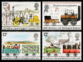 Britain steam train postage stamps set of used printed in celebrating the public railways and the liverpool and manchester railway Royalty Free Stock Photos