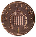 British 1p piece Royalty Free Stock Photo