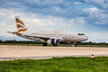 British airways airbus taxiing at zagreb airport a on pleso runway in croatia in preparation of taking off Royalty Free Stock Photo
