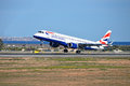 British airways the aircraft touching down at spain s alicante airport Royalty Free Stock Photo