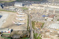 British airways planes at heathrow from above london october aerial view of parked close to building works to expand the london Stock Photo