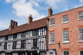 British architecture two old classic buildings of different stratford upon avon england Royalty Free Stock Photo