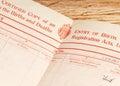British birth certificate Royalty Free Stock Photo