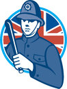 British bobby policeman truncheon flag illustration of a london police officer man wielding or baton also called cosh billystick Stock Photos