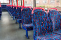 British bus interior of the empty multi storey public Royalty Free Stock Photos